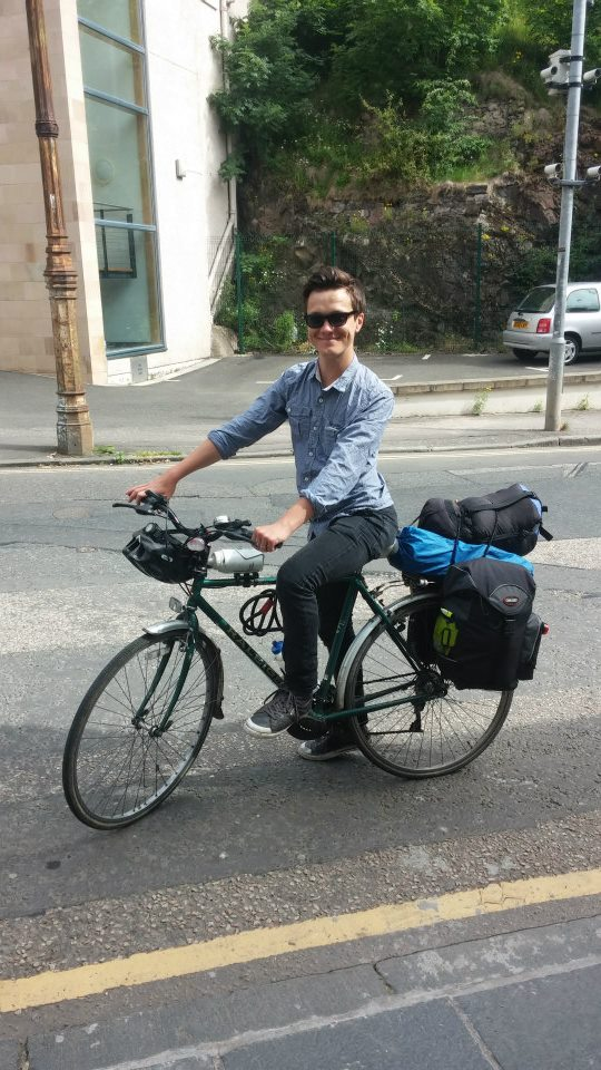 Me and my bike in Edinburgh, about 45 days into my journey